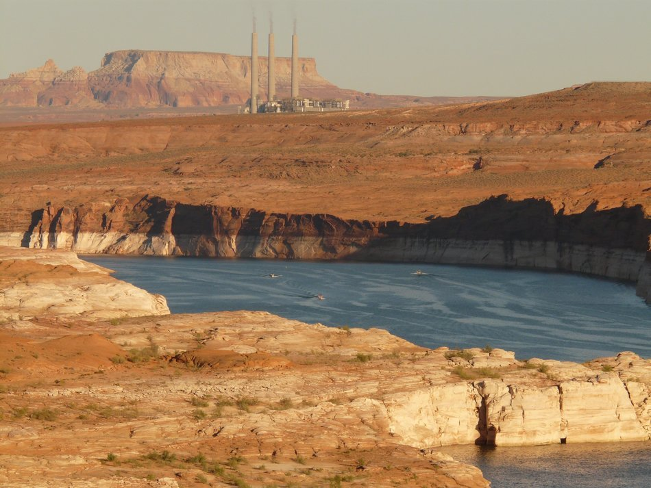 Lake Powell in the background of power plant in Colorado