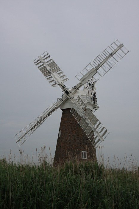 windmill on a gray day