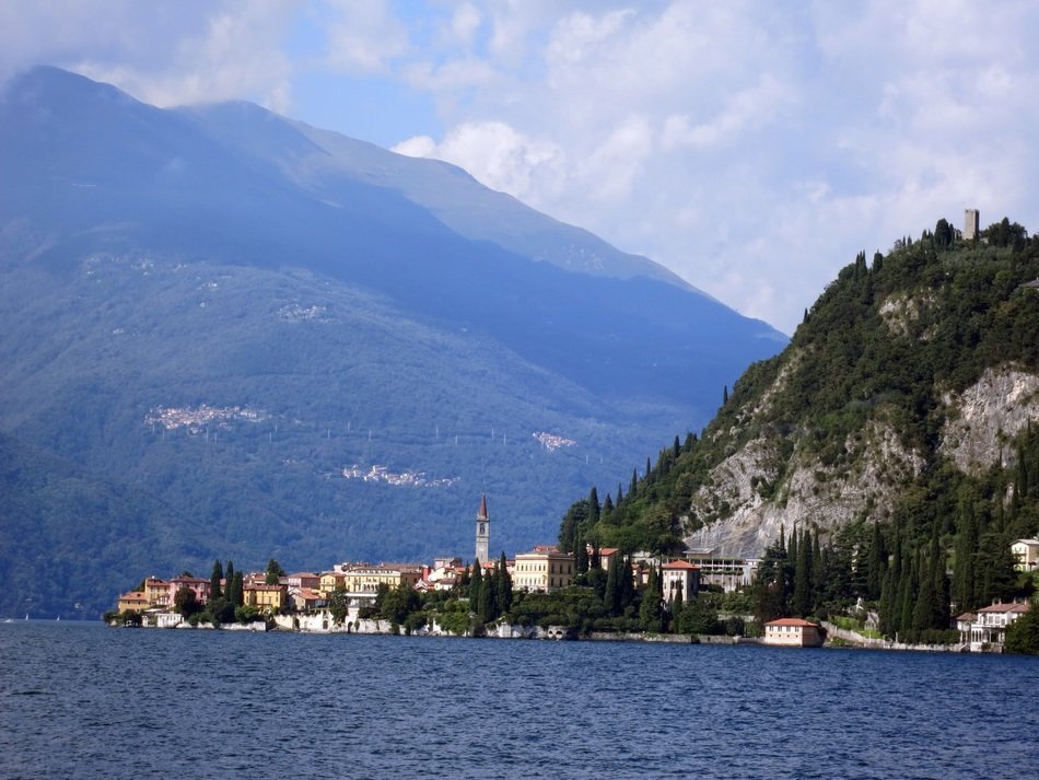 Lake Como against mountains in Italy