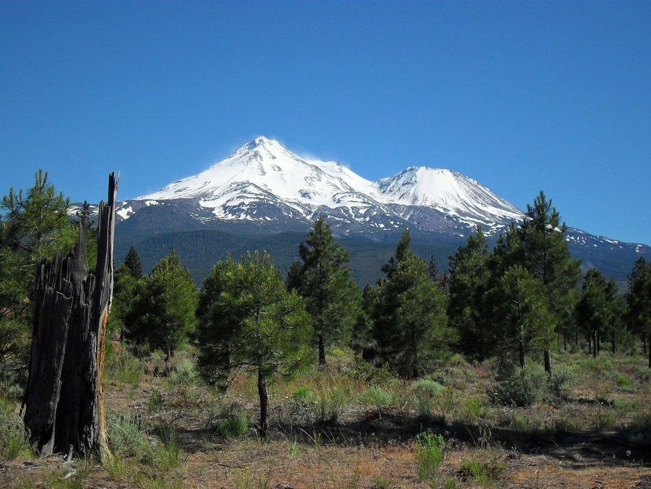 remote view of Mount Shasta Mountain on a sunny day