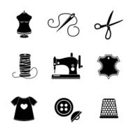Set of sewing icons - machine scissors thread leather tag