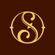 S letter in vintage circle