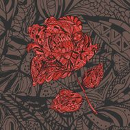 Floral Pattern with red Flower Rose