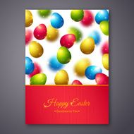 Happy Easter Greeting Card Design with Colorful Eggs