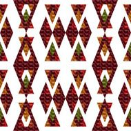 Seamless textured red orange triangle pattern on white