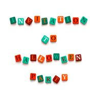 "Words ""invitation to Halloween party"" with colorful blocks"