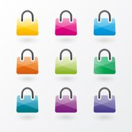 Brightly colored shopping bags icons