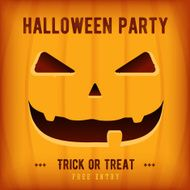 Halloween Party Poster Design template with orange pumpkin