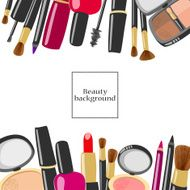 Makeup and beauty product background with copyspace