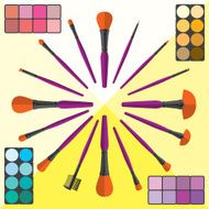 Set of Makeup Brushes and Cosmetic