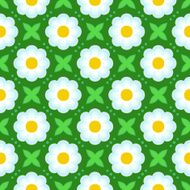 Pattern with bold stylized flowers in 1970s style