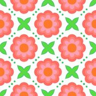 Pattern with bold stylized flowers in 1970s style N3