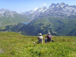 tourists in the sunny alps