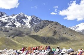 Beautiful landscape with the local market amid the Andes, Peru