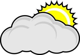 Clip art of cloudy and sunny weather icon
