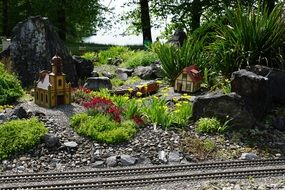 miniature railway with plants