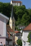 medieval church among the homes Riedenburg