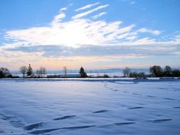 landscape of snowy field