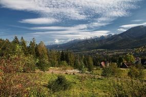 landscape of a village in tatry mountains