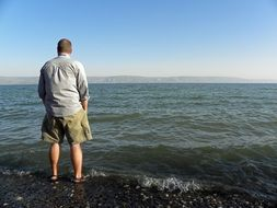man by the lake in israel