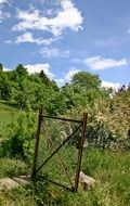 metal garden gate in summer landscape