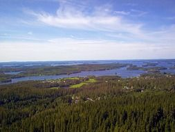 picturesque Finnish lake from above