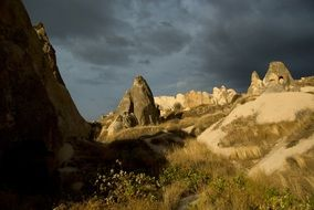 landscape of the rocks in cappadocia