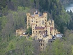 panoramic view of the neuschwanstein castle