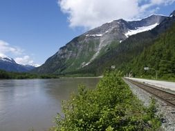 skeena river and mountain in british columbia