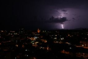 thunder and lightning over a night city