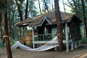 wooden hut and a hammock in India