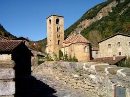 Stone church building in a village of Italy