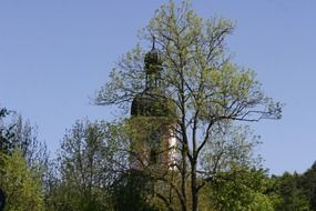 view of the church through the trees in Shambahe