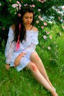 girl in a white dress wild rose beauty