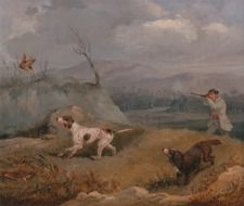 art picture of dogs and hunter