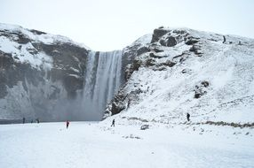 Amazing iceland landscape winter waterfall