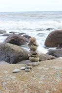 cairn in the baltic sea coast