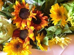 bouquet of sunflowers on the table
