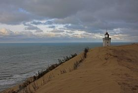 lighthouse in dunes of north sea