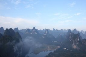li river between mountains