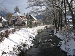 rocky river on a winter day in freiburg