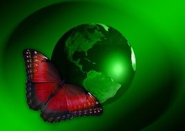 butterfly on a green earth planet as an illustration