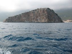 view from the sea to the island
