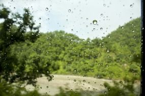 Water droplets on window