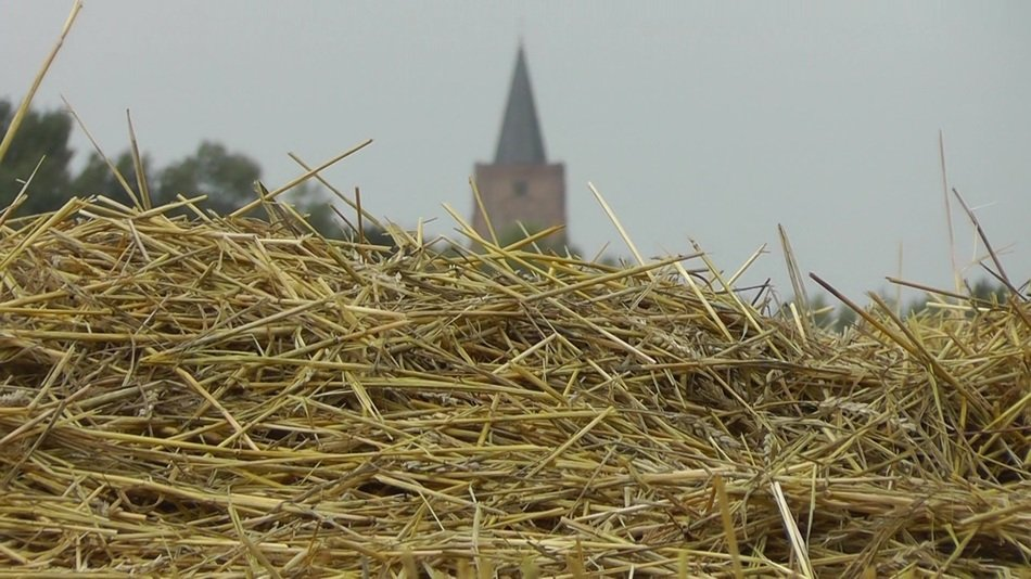 landscape of straw and church