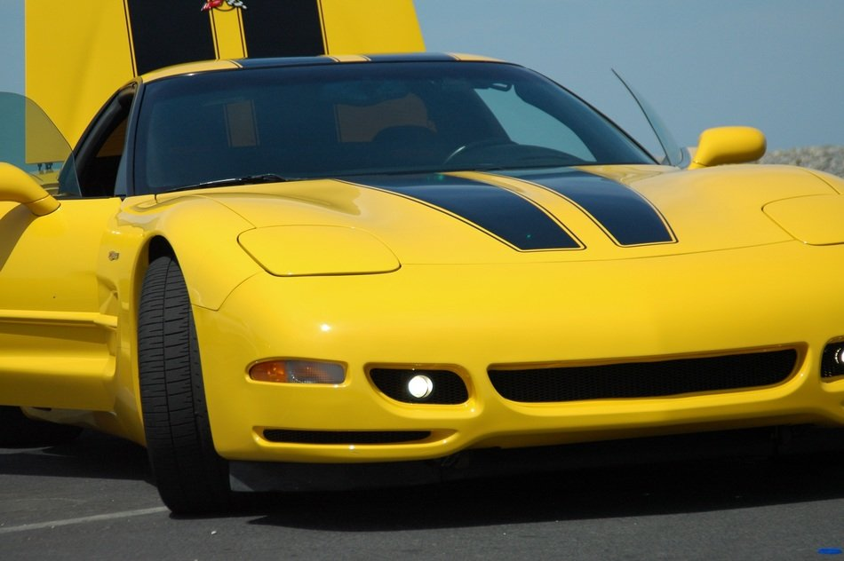 Yellow Corvette with black stripes closeup
