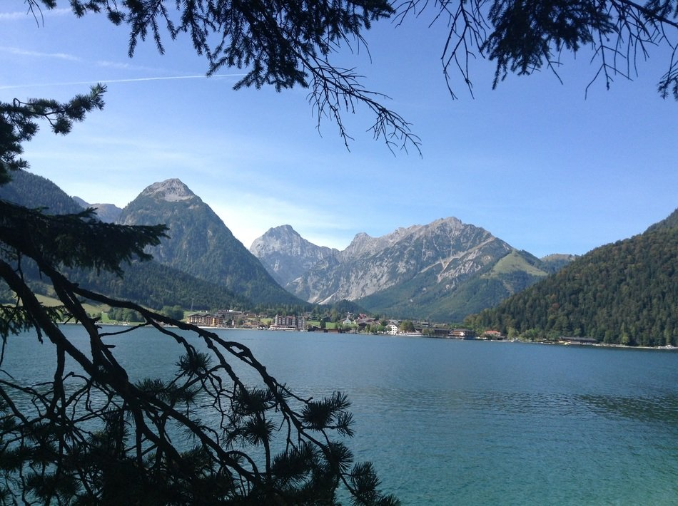 panoramic view of the lake in the tyrol mountains on a sunny day