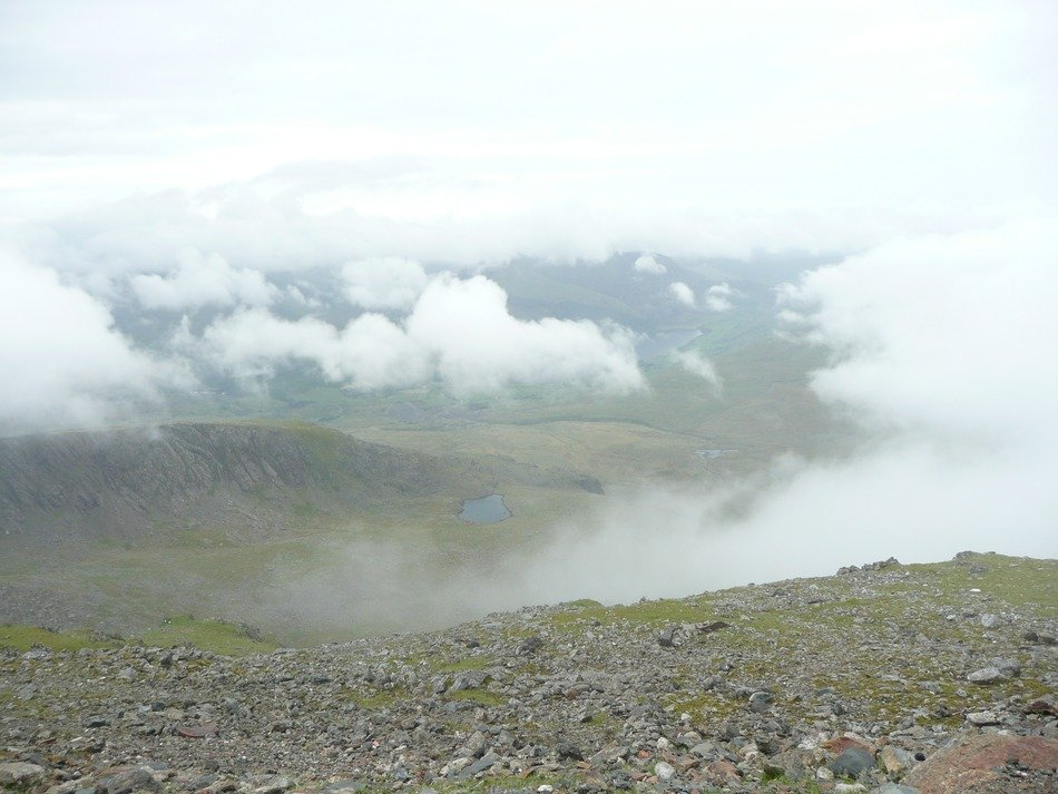 panorama on the beautiful valley in the clouds, uk, wales, snowdon