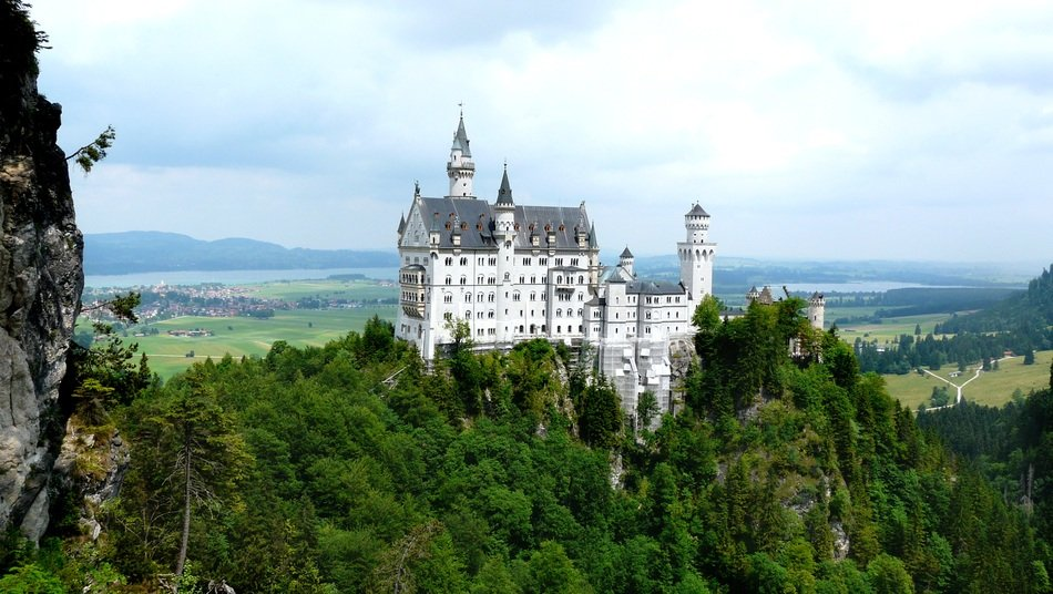 Neuschwanstein castle on the green hill