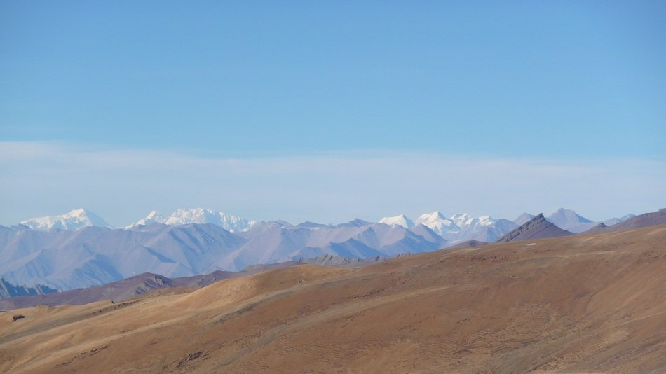Remote view of the mountain range in Ladakh, India
